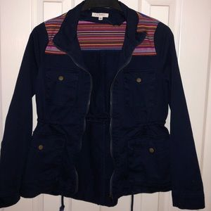 Sm i Joah navy blue army jacket w/ colorful detail